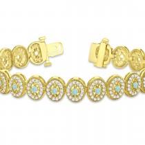 Aquamarine Halo Vintage Bracelet 18k Yellow Gold (6.00ct)