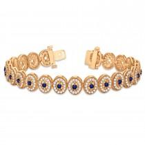 Blue Sapphire Halo Vintage Bracelet 18k Rose Gold (6.00ct)