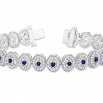 Blue Sapphire Halo Vintage Bracelet 18k White Gold (6.00ct)|escape