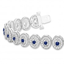 Blue Sapphire Halo Vintage Bracelet 18k White Gold (6.00ct)