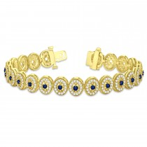 Blue Sapphire Halo Vintage Bracelet 18k Yellow Gold (6.00ct)