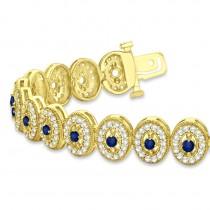 Blue Sapphire Halo Vintage Bracelet 18k Yellow Gold (6.00ct)
