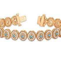 Blue Topaz Halo Vintage Bracelet 18k Rose Gold (6.00ct)