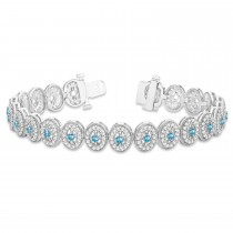 Blue Topaz Halo Vintage Bracelet 18k White Gold (6.00ct)