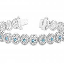 Blue Topaz Halo Vintage Bracelet 18k White Gold (6.00ct)|escape