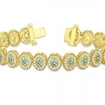 Blue Topaz Halo Vintage Bracelet 18k Yellow Gold (6.00ct)