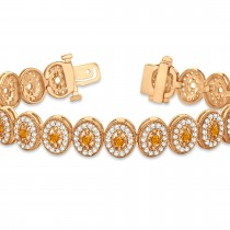 Citrine Halo Vintage Bracelet 18k Rose Gold (6.00ct)