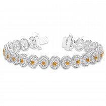 Citrine Halo Vintage Bracelet 18k White Gold (6.00ct)