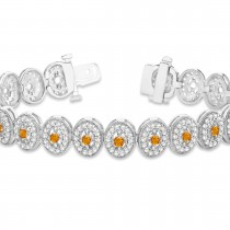 Citrine Halo Vintage Bracelet 18k White Gold (6.00ct)|escape