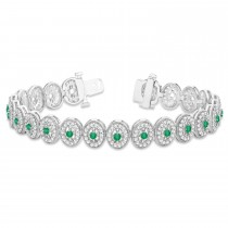 Emerald Halo Vintage Bracelet 18k White Gold (6.00ct)