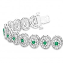 Emerald Halo Vintage Bracelet 18k White Gold (6.00ct)