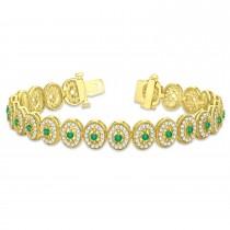 Emerald Halo Vintage Bracelet 18k Yellow Gold (6.00ct)
