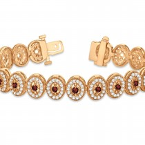 Garnet Halo Vintage Bracelet 18k Rose Gold (6.00ct)