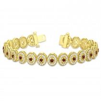 Garnet Halo Vintage Bracelet 18k Yellow Gold (6.00ct)