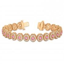 Pink Sapphire Halo Vintage Bracelet 18k Rose Gold (6.00ct)