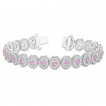 Pink Sapphire Halo Vintage Bracelet 18k White Gold (6.00ct)