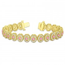 Pink Sapphire Halo Vintage Bracelet 18k Yellow Gold (6.00ct)