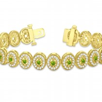 Peridot Halo Vintage Bracelet 18k Yellow Gold (6.00ct)