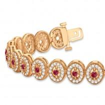 Ruby Halo Vintage Bracelet 18k Rose Gold (6.00ct)