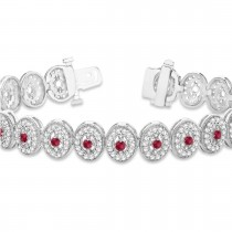 Ruby Halo Vintage Bracelet 18k White Gold (6.00ct)