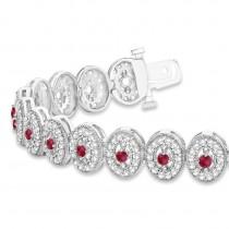 Ruby Halo Vintage Bracelet 18k White Gold (6.00ct)