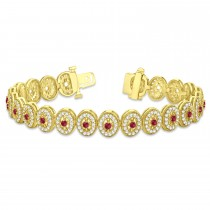 Ruby Halo Vintage Bracelet 18k Yellow Gold (6.00ct)