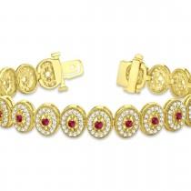 Ruby Halo Vintage Bracelet 18k Yellow Gold (6.00ct)