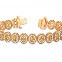 Yellow Sapphire Halo Vintage Bracelet 18k Rose Gold (6.00ct)