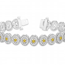Yellow Sapphire Halo Vintage Bracelet 18k White Gold (6.00ct)