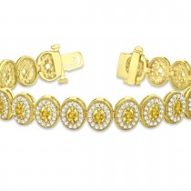 Yellow Sapphire Halo Vintage Bracelet 18k Yellow Gold (6.00ct)