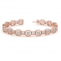 Diamond Vintage Square Tennis Link Bracelet 14k Rose Gold (2.10ct)