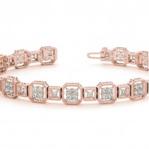 Diamond Vintage Square Tennis Link Bracelet 14k Rose Gold (2.10ct)