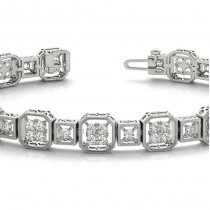 Diamond Vintage Square Tennis Link Bracelet 14k White Gold (2.10ct)