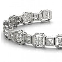 Diamond Vintage Square Tennis Link Bracelet 14k White Gold (2.10ct)