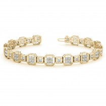 Diamond Vintage Square Tennis Link Bracelet 14k Yellow Gold (2.10ct)
