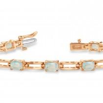Emerald Cut Opal Bracelet 14k Rose Gold (3.60ct)