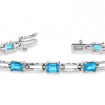 Emerald Cut Blue Diamond Bracelet 14k White Gold (3.00ct)
