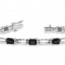 Emerald Cut Black Diamond Bracelet 14k White Gold (3.00ct)