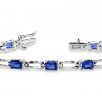 Emerald Cut Blue Sapphire Bracelet 14k White Gold (4.56ct)