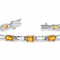 Emerald Cut Citrine Bracelet 14k White Gold (3.36ct)