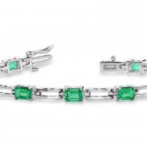 Emerald Cut Emerald Bracelet 14k White Gold (3.60ct)