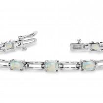Emerald Cut Opal Bracelet 14k White Gold (3.60ct)