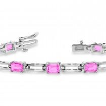 Emerald Cut Pink Sapphire Bracelet 14k White Gold (4.56ct)