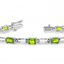 Emerald Cut Peridot Bracelet 14k White Gold (4.20ct)