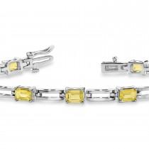 Emerald Cut Yellow Diamond Bracelet 14k White Gold (3.00ct)
