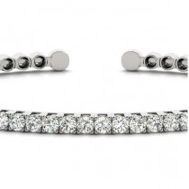 Diamond Open Cuff Bangle Tennis Bracelet 14k White Gold (1.05ct)|escape