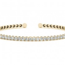 Diamond Open Cuff Bangle Tennis Bracelet 14k Yellow Gold (1.05ct)