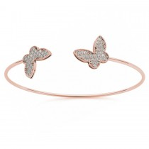 Diamond Butterfly Pave Bangle Bracelet 14k Rose Gold (0.60ct)