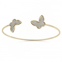 Diamond Butterfly Pave Bangle Bracelet 14k Yellow Gold (0.60ct)
