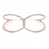 Diamond Butterfly Bangle Fashion Bracelet 14k Rose Gold (0.64ct)